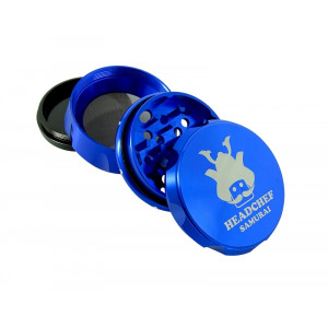 Headchef Samurai Herb Grinder 55mm 4 Part Blue